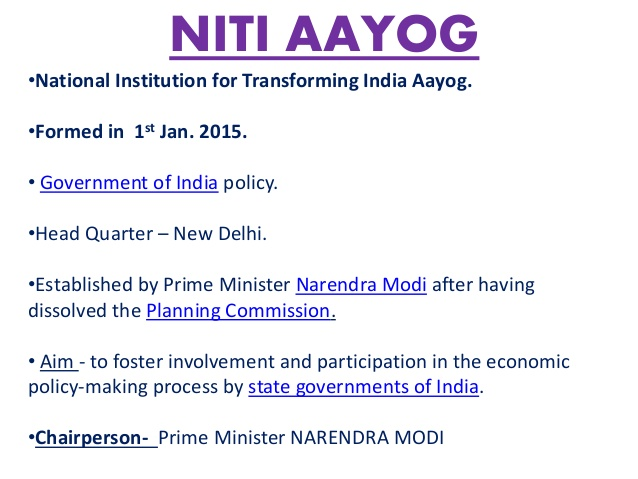 Government Of India Scheme Notes – NITI Aayog – For W.B.C.S. Examination.