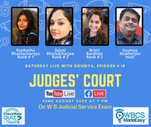 Saturday Live With Soumya – Episode 18 – Discussion On West Bengal Judicial Service Examination.
