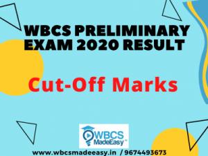 WBCS Preliminary Examination 2020 Cut-off Marks