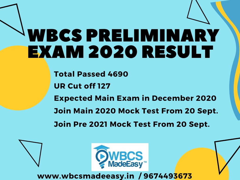 WBCS-Preliminary-Exam-2020 Result Cut off