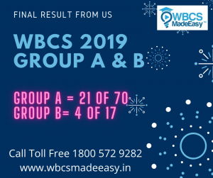 WBCS Group A and Group B 2019 Final Result And Cut Off Marks – Huge Success from WBCS MADE EASY