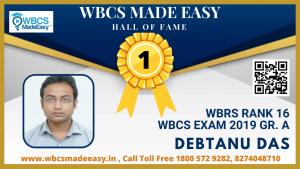 Debtanu Das WBRS 2019 rank 16